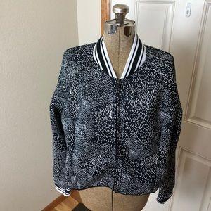 Fabletics Black & White Mesh Athletic Jacket
